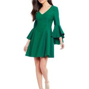 NWT Badgley Mischka V-Neck Bell Sleeve Dress, 14
